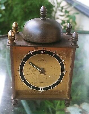 VINTAGE Renise Minature Brass CLOCK GERMANY 7 JEWELS Works