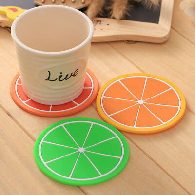 2pcs Silicone Placemat Fruit Coasters Cushion Mug Cup Holder Tea Pad Kitchen Mat