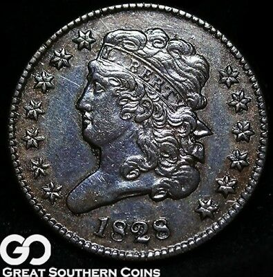 1828 Half Cent, Classic Head, Choice AU++ Early Copper