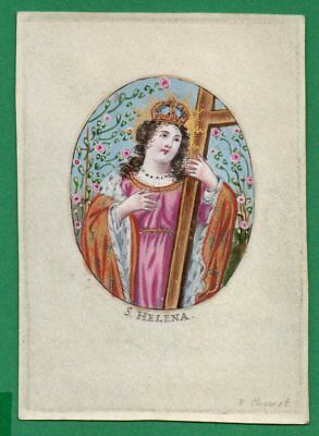 ST HELENA OR HELEN Antiq 17th Cent HOLY CARD ENGRAVING ON VELLUM by P Clouwet