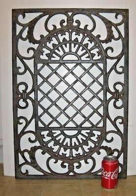 "LARGE HEAVY 22lb ANTIQUE CAST IRON GRATE 18-1/2"" X 27-1/2"", FREE SHIPPING"