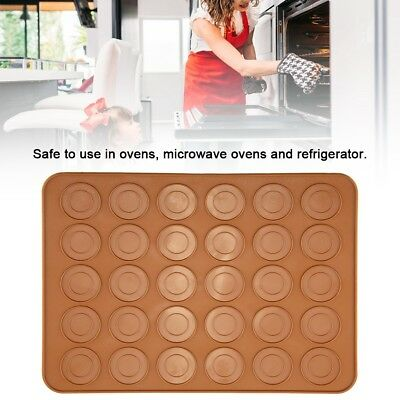 30 Baking Silicone Macaroon Tray Non Stick Mould Cavities Macaron Sheet Mat