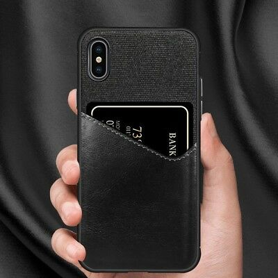 Hybrid Leather Credit Card Slot Holder Back Case Cover For iPhone XS MAX XR 8
