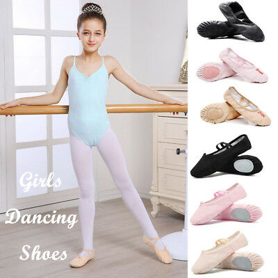 10 Sizes NEW Kids Toddler Girls Embroidery Leather Canvas Ballet Shoes Dancing