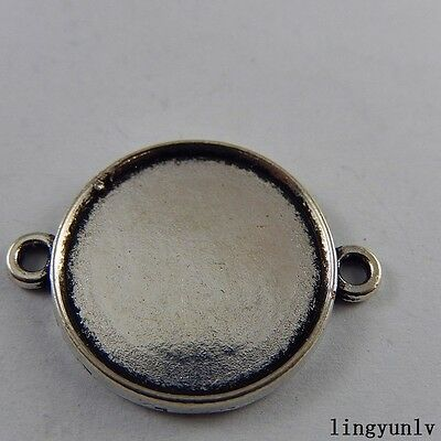 10pcs Vintage Silver Alloy Round 20mm Blank Setting Tray Bezel Pendant Connector
