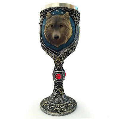 Game Of Thrones Theme 3D Wolf Resin Stainless Wine Goblet Glass Cup John Snow DE