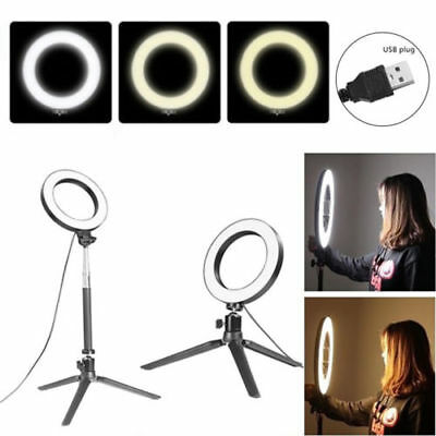 LED 3 Modes Dimmable Studio Camera Ring Light Photo Phone Video 14.5CM Black UK