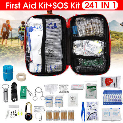 241Pcs Upgraded First Aid Emergency Survival Tool Kit Outdoor Trauma Medical Bag