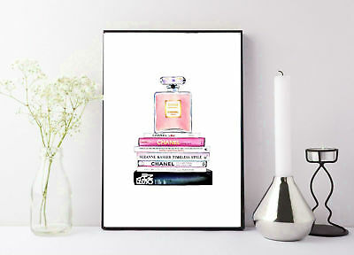 print/poster drawing painting coco chanel stacked books with perfume bottle