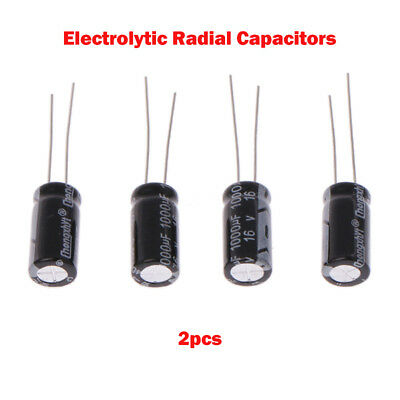 NEW 2x Electrolytic Radial Capacitors , High Quality Various Values / Voltage UK