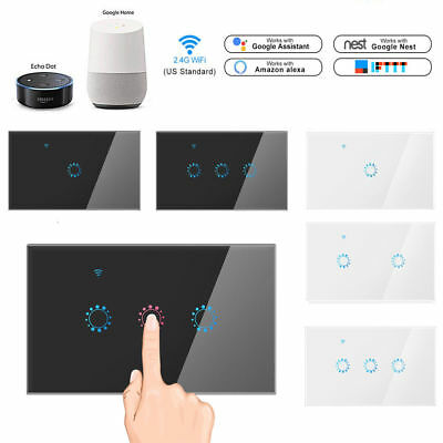 1/2/3 Gang WiFi Smart Home Touch Light Wall Switch Panel For Alexa / Google APP