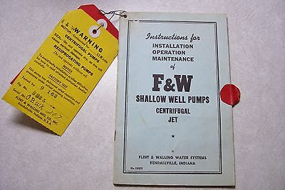 Vintage F & W Shallow Well Pumps Centrifugal Jet INSTRUCTION BOOKLET