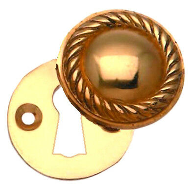Solid Brass Closed Hinged Escutcheon With Screws Keyhole Cover 37mm Diameter