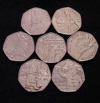 2018 Set of 7 50p Coins - Beatrix Potter + Paddington Palace + Station + Act UNC