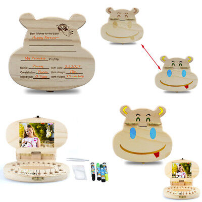 Baby Milk Teeth Tooth Wooden Storage Fairy Box Organizer Girl Boy Save Memory RS