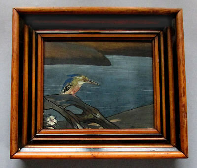 ANTIQUE 19th Century JAPANESE Watercolor Painting KINGFISHER