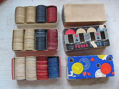 Vintage Composition and Paper Poker Chips