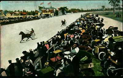 1908  Postcard Harness Horse Racing Glenview In Cleveland Oh High Wheel Sulkies