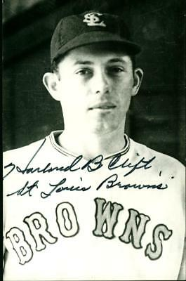 Rowe Baseball Player Postcard  Harland Clift St Louis Browns Autographed
