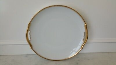Vintage Meito Royalty Fine China Japan Hand Painted Gold Rim round handled tray