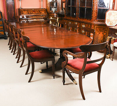 Antique Regency Revival Mahogany Dining Table &  12 Chairs 19th C