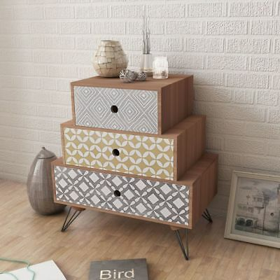vidaXL Nightstand with 3 Drawers Brown Bedroom Bedside Table Cabinet Chest