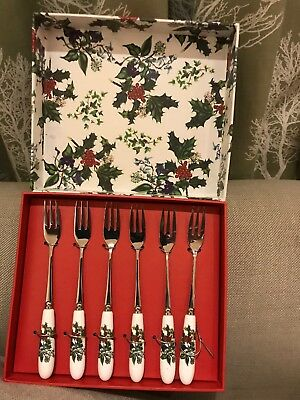 Portmeirion Holly and Ivy Set of 6 Cake / Pastry Forks New & Boxed.