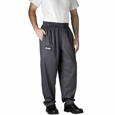 New Chefwear  Men's 100% Cotton Baggy Chef Pants Gray Houndstooth L-5XL