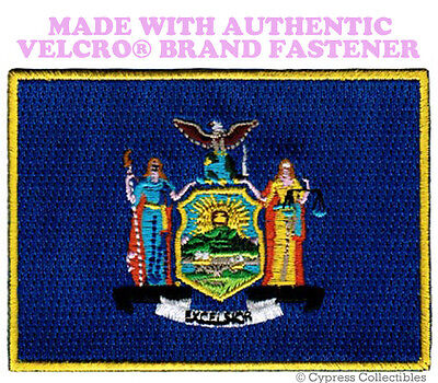 NEW YORK STATE FLAG PATCH EMBROIDERED SYMBOL APPLIQUE w/ VELCRO® Brand Fastener