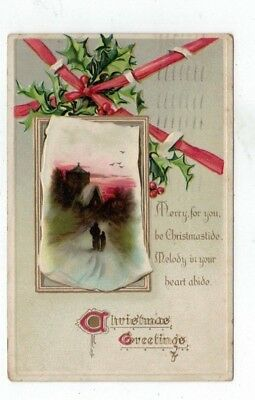 Antique Tuck Embossed Christmas Post Card People at Sunset Birds Holly Ivy