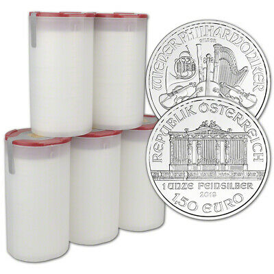 2019 Austria Silver Philharmonic 1 oz 1.5 Euro 5 Rolls 100 Coins in 5 Mint Tubes