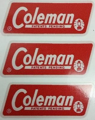 Three (3) New Coleman Replacement Sticker Label Decal Lantern Stove 1965-1970