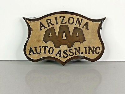 RARE Vintage COPPER AAA Automobile Club of ARIZONA Car Club Plaque Badge Topper
