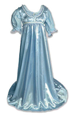 Plus Size Light Blue Satin Cap Sleeve Gown Vintage Regency Princess Role Play