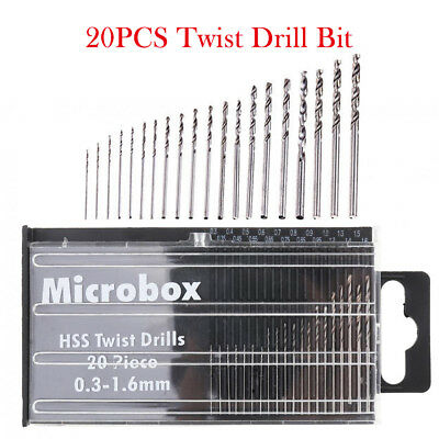 20 Set Mini Micro Hand Twist Drill 0.3-1.6mm HSS Bit Spiral Drill Bits with CASE