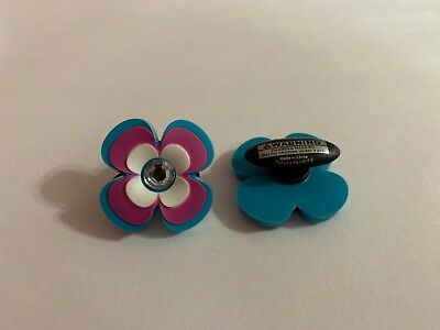 Purple & Blue Flower with Bling Shoe-Doodle Rubber or Crocs Shoe Charm PSC1125