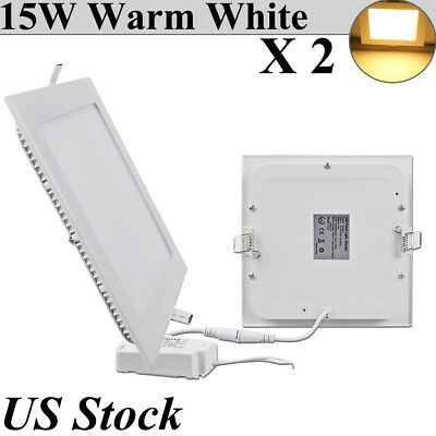 2X 15W Recessed LED Ceiling Panel Down Light Square Warm White Mini Fixtures