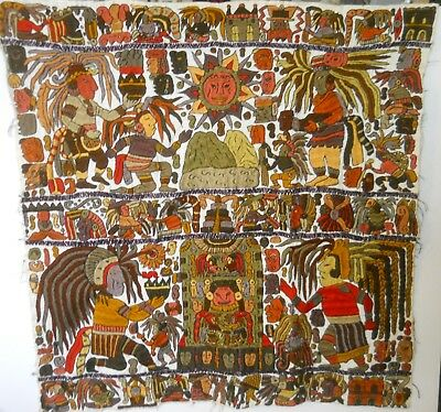 Guatemalan Mayan Calendar - Colorful Hand-Embroidered On Hand-Woven Cotton