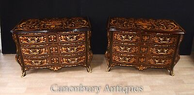 Pair Bombe Chests Drawers - Dutch Marquetry  Commodes