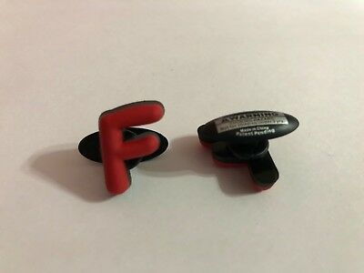 Red Letter F Shoe-Doodle goes in holes Rubber Shoes or Crocs Shoe Charm LTR006