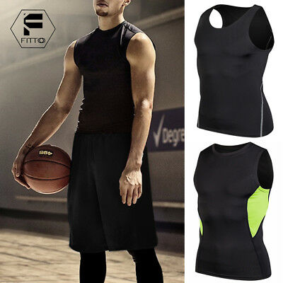 Mens Compression Base Layer Workout Tank Tops Singlet Sleeveless Vest Shirt A35