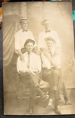 Antique~~Real Photo Post Card---4 Young Men---Interesting Pose----free ship