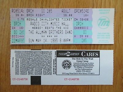 UNUSED THE ALLMAN BROTHERS May 14, 1995 RADIO CITY Ticket DICKIE BETTS GREGG
