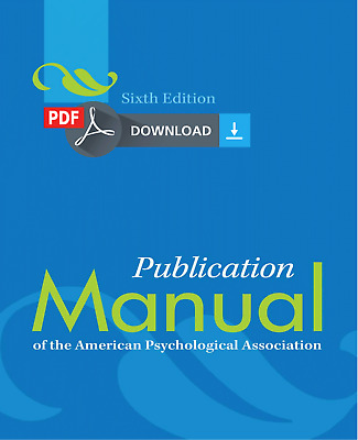 [P.D.F] Publication Manual of the American Psychological Association 6th Edition