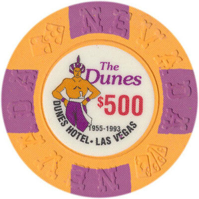 The Dunes Hotel and Casino $500 Bill Borland Commemorative Chips Las Vegas NV