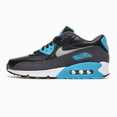 New Nike Air Max 90 LTR Leather Mens Athletic Lifestyle Shoes Black Blue - 11.5