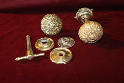 Stunning Pair (2) Antique Victorian Solid Heavy Brass Ornate Door Knob Sets