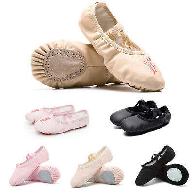 Pink Kids Girls Soft Split-Sole Canvas Leather Ballet Dance Shoes Slippers 25-35