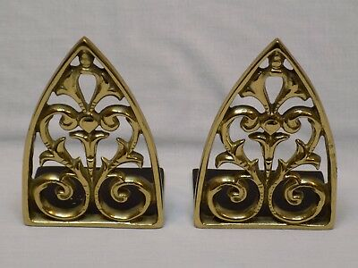 2 Brass Bookends Vintage Old Pair Set Hollywood Regency Pyramid 8-1 Mid Cent Mod