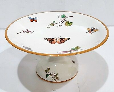 Rare Wedgwood 1872 Pedestal Cake Stand Plate Butterflies Bees Beetle Floral